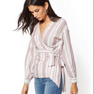 NY&Company Stripe Tie-Front  Wrap Shirt